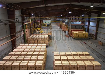 Brickfield. Image of bricks stacked on pallets