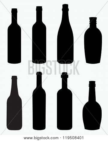 A collection of interesting alcohol, beer, liquor and wine bottle silhouettes