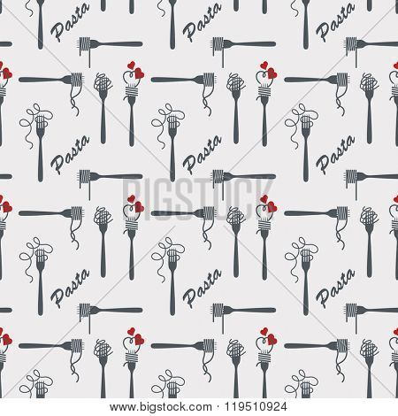 seamless background pattern of fork with pasta