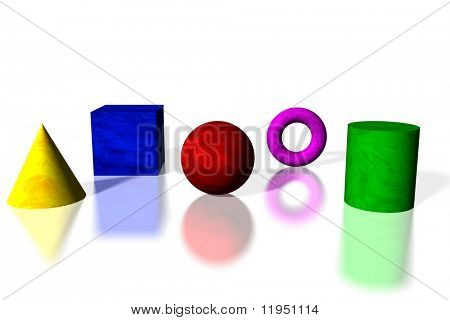 Basic shapes in bright colors