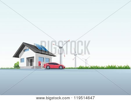 Electric Car Charging At The Charging Wall Station At Home
