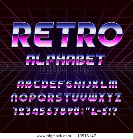 80's retro alphabet vector font