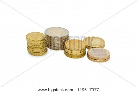 Different Stacked Euro Coins On A Light Background