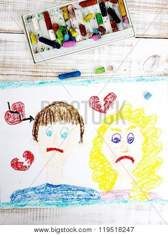 Representation of marriage break up or divorce