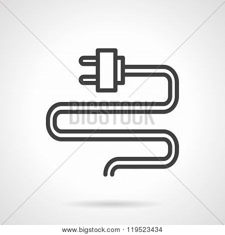 Wire with plug black line vector icon