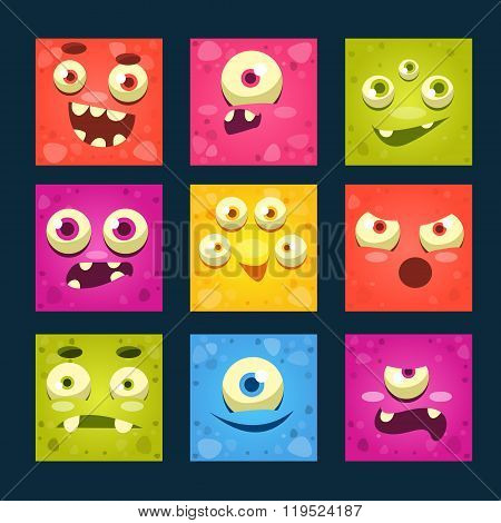 Square Cartoon Monster Faces Vector Set.