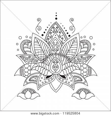 Beautiful Lotus Ornament Vector Yoga Hand Drawn Element Picture For Design Kaleidoscope