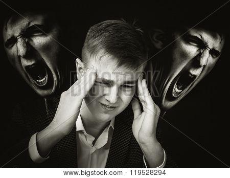 Migraine. Concept photo with double exposure