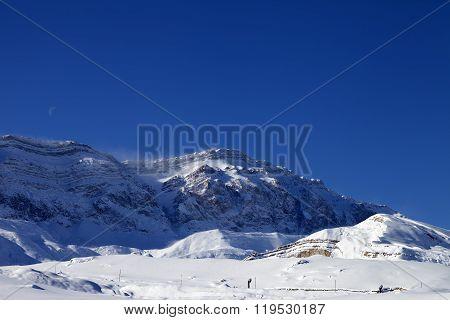 Ski Resort At Windy Sun Morning