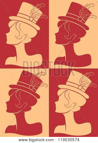 Illustration Featuring the Silhouettes of a Burlesque Performer Wearing a Fancy Hat