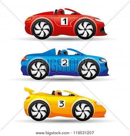 Racing cars on a white background.