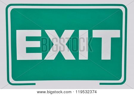 Close up of a exit sign for stairway. Green emergency exit sign. Label that will help you escape poster
