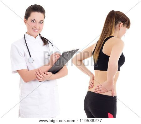 Young Female Doctor And Sporty Girl With Injury Isolated On White