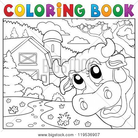 Coloring book lurking cow near farm - eps10 vector illustration.
