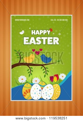 Happy Easter poster with Eggs, Grass, Flowers. Poster, greeting card.