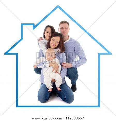 Happy Family - Father, Mother, Daughter And Son In Blue House Isolated On White