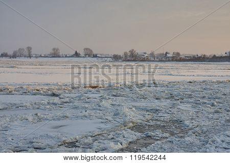 ice hummocks ice chunks in deep autumn