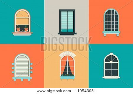 Vector flat set of icons for windows with pane. Rectangle and oval shape glass. Balcony with curtain