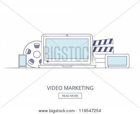 Business on line Video Marketing, media Marketing content. Video Marketing webinar. Video Marketing workplace. Social Video Marketing presentation. Video Marketing banner. OulineVideo Marketing.