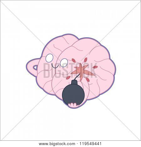 A vector outlined flat illustration of a brain holding the bomb in its hands, the metaphor of patience