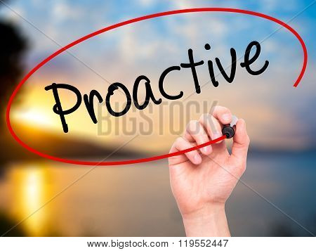 Man Hand Writing Proactive With Black Marker On Visual Screen.