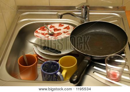 Dirty Dishes In A Sink.