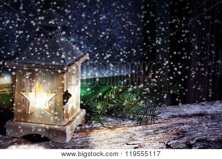 Lantern In Snow Flurries