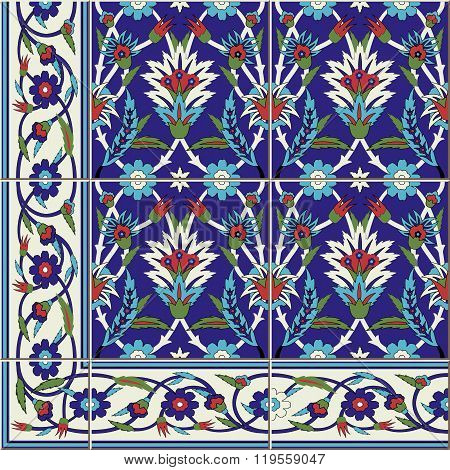 seamless  pattern. Turkish, Moroccan, Portuguese  Azulejo tiles and border, ornaments.