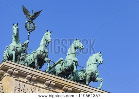 Berlin, Germany - April 11, 2014: The Quadriga On Top Of The Brandenburg Gate, Berlin