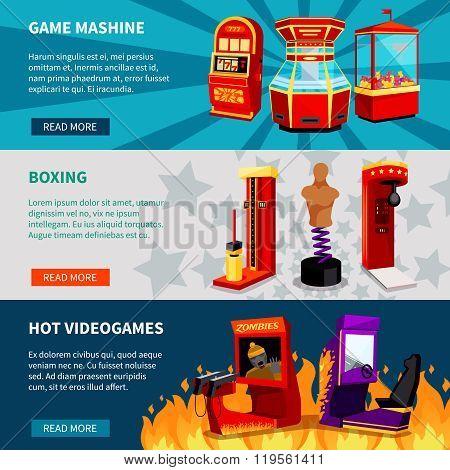 Game Machine Banners Set