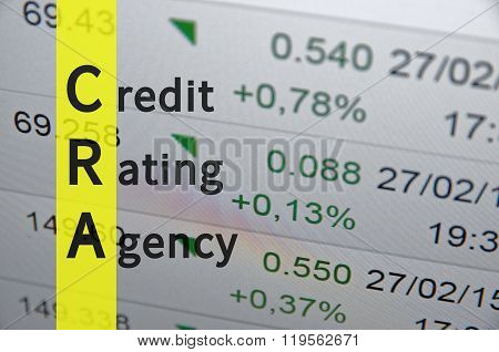 Acronym term CRA as Credit Rating Agency. poster