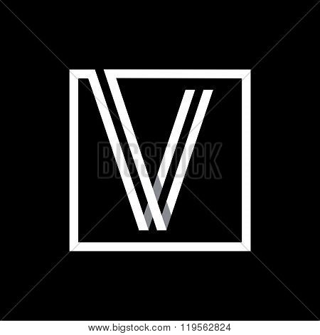 Capital letter V. Overlapping with shadows monogram, logo, emblem.