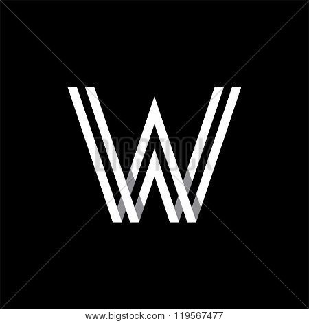 Capital letter W. Overlapping with shadows logo, monogram trendy design.