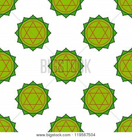 Anahata - Heart Chakra. The Symbol Of The Fourth Chakras. Seamless Pattern.