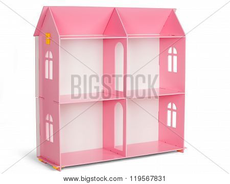 Pink Wooden Dollhouse Isolated On White Background