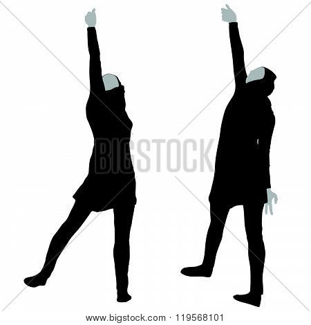 Muslim Woman Silhouette In Victorious Pose