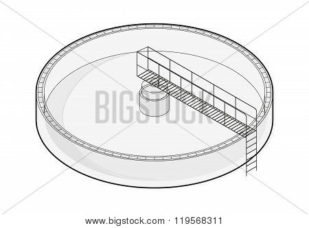Water treatment isometric building infographic, big wire bacterium purifier on white background.