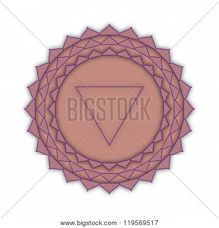 Sahasrara - The Crown Chakra. The Symbol Of The Seventh Chakra. Illustration Isolated On White.