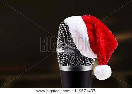 Santa Claus Hat On Wireless Microphone