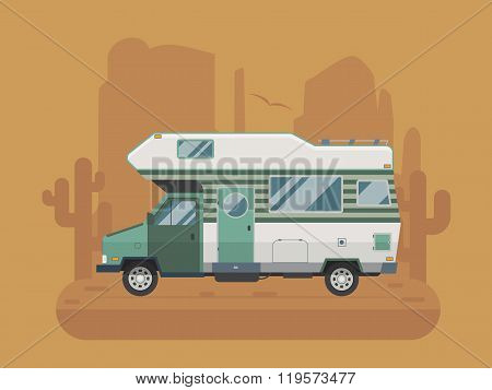 Camper Trailer On Desert National Park Area