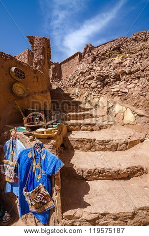 Street of Ait Benhaddou, fortified city, kasbah or ksar, along the former caravan route between Sahara and Marrakesh in present day Ouarzazate, Morocco