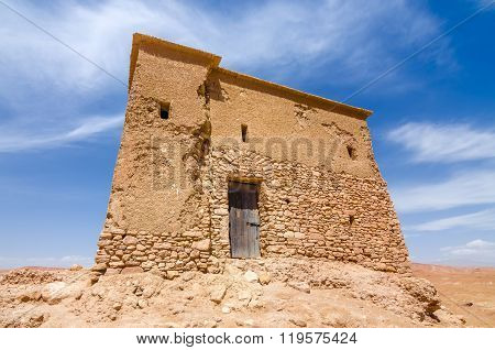 Small building on top of mountain in casbah of Ouarzazate, Morocco, Africa