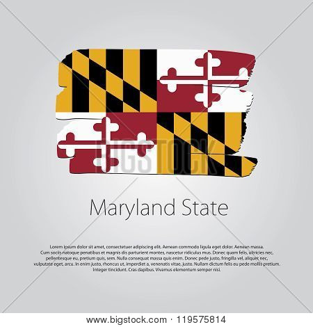 Maryland State Flag With Colored Hand Drawn Lines In Vector Format