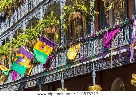 Ironwork Galleries On The Streets Of French Quarter Decorated For Mardi Gras In New Orleans,  Louisi