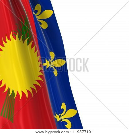 Hanging Flag Of Guadeloupe - 3D Render Of The Guadeloupe Flag Draped Over White Background