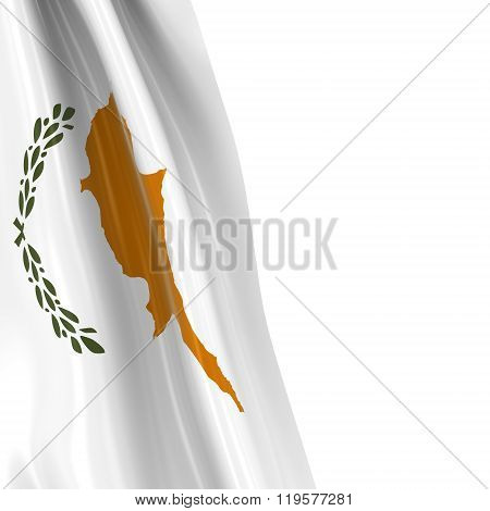 Hanging Flag Of Cyprus - 3D Render Of The Cypriot Flag Draped Over White Background