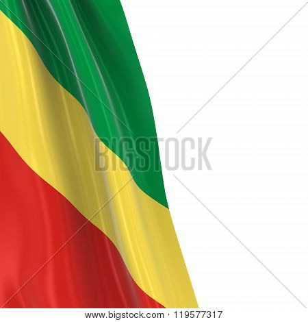 Hanging Flag Of Congo - 3D Render Of The Congolese Flag Draped Over White Background