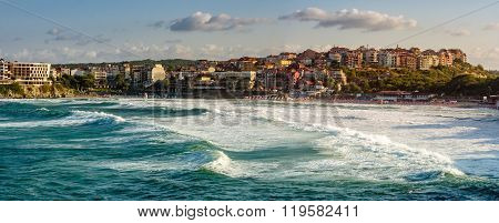Evening Waves Near The Shore Of Resort Town