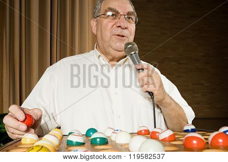 Bingo caller at work