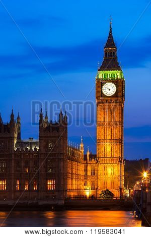 Big Ben Clock Tower And Houses Of Parliament At City Of Westminster, London, Uk